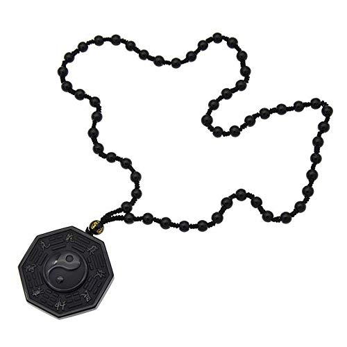 (FidgetKute Obsidian Carved Yin Yang Ba Gua Pendant Necklace Lucky Amulet Bead Chain)