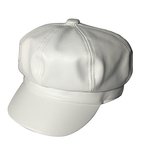 Brim Beret (WETOO Leather Vintage Newsboy Cabbie Cap Hat Wide Brim Ivy Beret Cap)