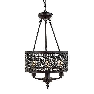 LNC Industrial Chandelier, Vintage Pendant Lights with Mesh Drum, Bronze Finish