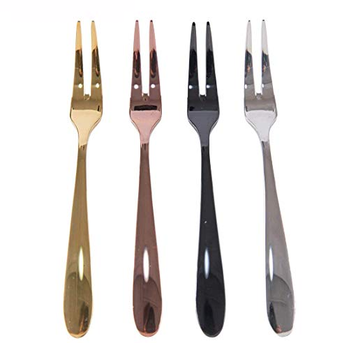 Cocktail Black Fork - Penta Angel Gold/Rose Gold/Silver/Black Forks 4 Colors Stainless Steel Two Prong Fruit Forks Mini Dessert salad Cake Forks Tasting Appetizer Bistro Cocktail Forks, 4Pcs