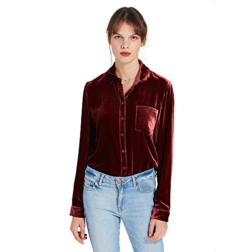 LilySilk Silk Velvet Blouse For Women Buttons Long Sleeve Winter Christmas Gift Claret XL/14-16 (Velvet Silk Blouse)