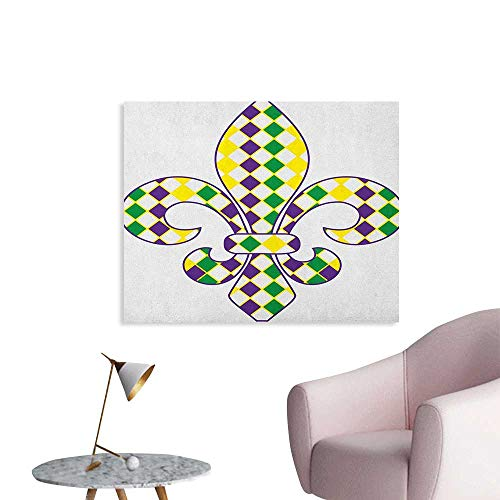 Mardi Gras Photographic Wallpaper Ancient Fleur De Lis with Traditional Festival Pattern Venetian Vintage Art Poster Purple Green Yellow W32 xL24