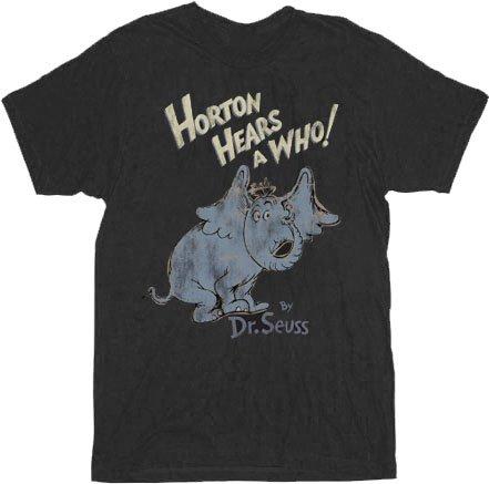 Dr. Seuss Horton Hears A Who Distressed Black Adult T-shirt Tee
