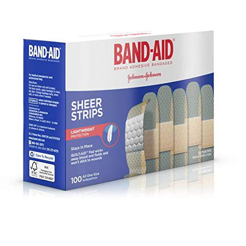BAND-AID Sheer Strips Bandage, 100 Count per Pack - 12 per case. - Sheer Strips Band Aid