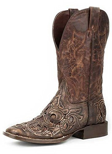 Brown Leather Handtooled Vamp Cowboy Boots 10 D ()