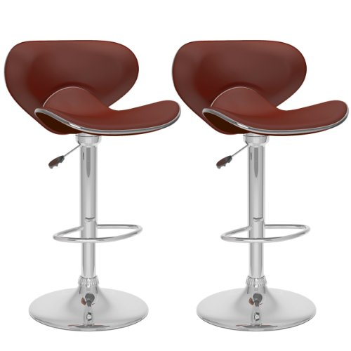 CorLiving B-532-VPD Curved Form Fitting Adjustable Bar Stool, Brown Leatherette, Set of 2 (Accented Piping Trim)