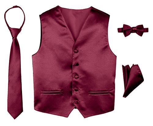 Spring Notion Boys' 4-Piece Satin Tuxedo Vest Set 7 Burgundy - Satin Suit