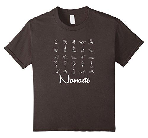 Kids Yoga Pose Meditation Zen T-Shirt: Childs Pose Downward Dog 4 Asphalt