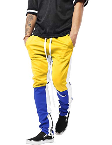 - Mens Stripe Track Three Tone Pants Skinny Fit Stretch Casual Athletic Joggers (Small, tp0555_Yellow/Royal Blue)