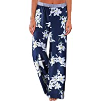 OUGES Women's Comfy Stretch Casual Floral Print Wide Leg Pants with Pockets