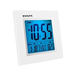 EVISTR Digital Office Clock with Alarm T-078 Daytime Digital Desk Clock Display Temperature Day Date with Countdown Timer Function for Table Shelve Home and Office (2 AAA Battery Included)