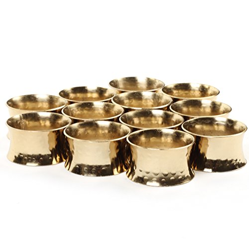 Koyal Wholesale 12-Pack Hammered Metal Napkin Rings, Gold for Weddding Reception, Christmas, Thanksgiving ()