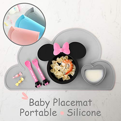Silicone Baby Placemat Portable - Baby Restaurant Placemat Outdoor Table Placemats for Kids Silicone Placemat for Toddler Baby Table Mat Outdoor Portable Food Mat Baby Travel Placemats for Kids(Grey)