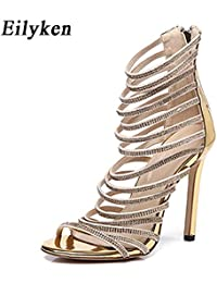 Gold Bling Crystal Sandals High Heels Strappy Gladiator Women Sandal  Stiletto Wedding Rhine Stone Size 35 8beb3e8519b9