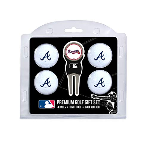 Team Golf MLB Atlanta Braves Regulation Size Golf Balls (4 Count) & Divot Tool with Removable Double-Sided Magnetic Marker