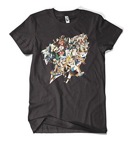 Fairy Tail Anime Group Men's Cotton Black T-Shirts