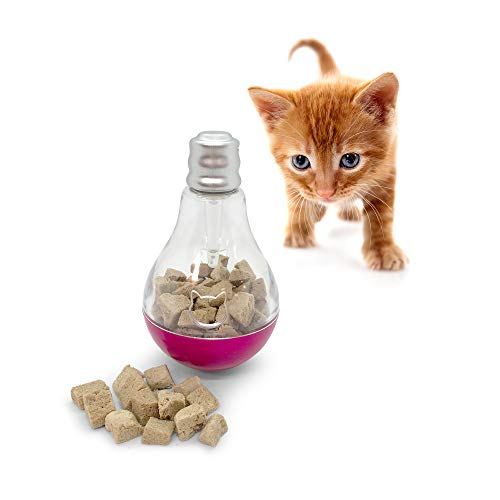 Pet Craft Supply Batty Bulb Treat Dispenser Slow Feeder Interactive Pet IQ Training Chasing Exercise Mental Stimulation Boredom Relief Tumbler Food Ball Weight Control Cat Toy with Light from Pet Craft Supply