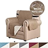 Reversible Quilted Furniture Protector Microfiber Sofa Chair Protector / Slipcovers with 2 Inch Elastic Straps, Seat Width Up to 21' Slip Cover Throw for Pets (Chair: Taupe / Beige) - 75'' X 65''