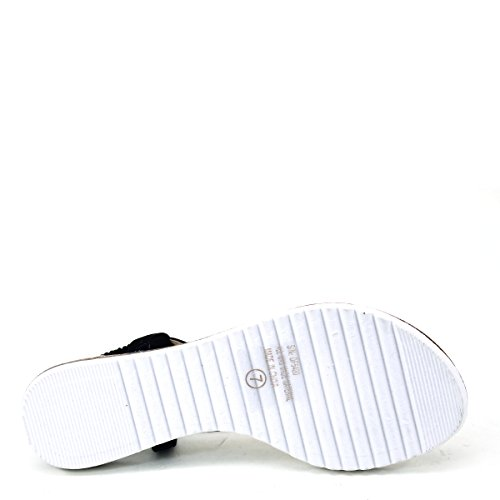 New Brieten Womens Rhinestone Bungee Flip-flop Thong Comfort Thick Sole Flat Sandals Black 8ONqEbBh