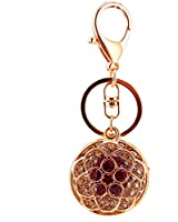 Kissweet Cute Rhinestone Flower Keychains Diamond Rose Car Key Ring Women (Purple)