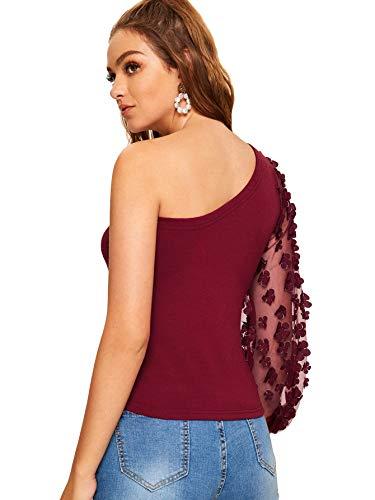 014c66bc191 SweatyRocks Women's Cutout Waist Long Sleeve One Shoulder Crop Top T Shirt