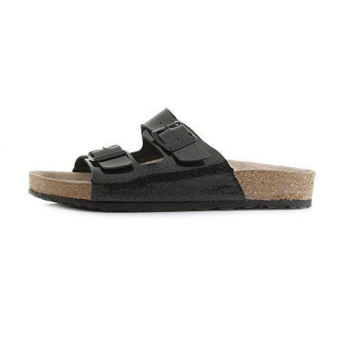 INBLU Womens ND-18 014 Black Glitter Comfort Footbed Sandals CjNihx5