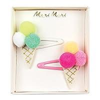 Meri Meri Pompom Ice Cream Hair Slides - Pack of 2 - Embroidered Felt with Gold Thread & Pompoms