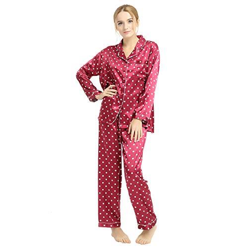 (Womens Silk Satin Pajamas Set Sleepwear Loungewear Red 3XL)