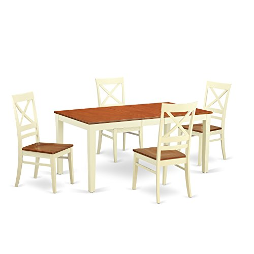 East West Furniture NIQU5-WHI-W 5 Piece Kitchen Table and 4 Chairs Dinette