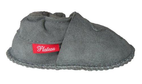Plateau Tibet - ECHT LAMMFELL Baby Kinder Schuhe Babyschuhe Krabbelschuhe Jungen Mädchen Lammfellschuhe - in Größen 16 17 18 19 22 23 Grau (Gray)