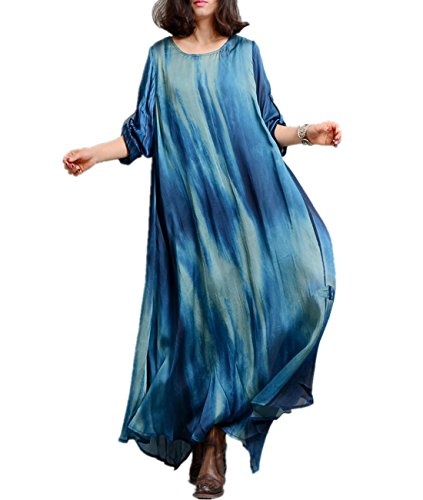 Yesno XB4 Women Long Loose Maxi Dress 100% Silk Ink Painting Colorful Bohemia Summer Beach /Slip