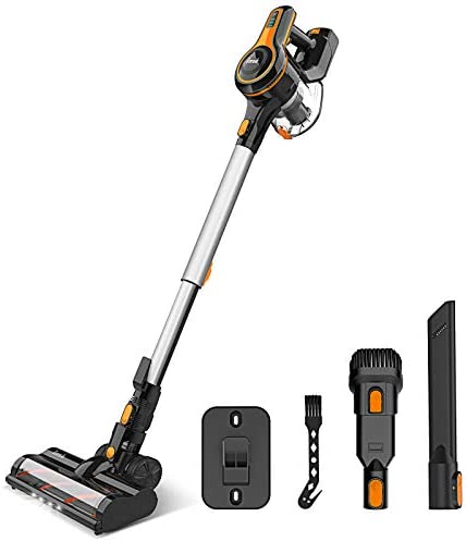 Cordless Vacuum Cleaner 23Kpa Strong Suction, Stick Vacuum with 45min Max Long Runtime Detachable Battery, Extra Large Dustbin, Powerful Brushless Motor, Ultra Quiet Lightweight - INSE S600