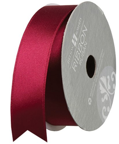Jillson Roberts 1-Inch Double Faced Satin Ribbon Available in 21 Colors, Burgundy, 6 Spool-Count (FR1008) (Ribbon Burgundy Satin)