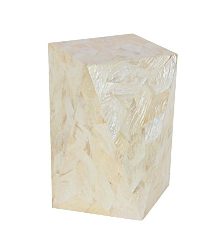 Deco 79 47325 Geometric Wooden Inlaid Accent Table, White - Inlaid Accent