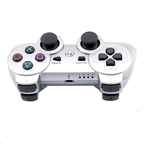 New Style Game Wireless Vibration Controller , Egmy Popular Bluetooth Wireless Double Vibration Controller for Sony PS3 (Silver)