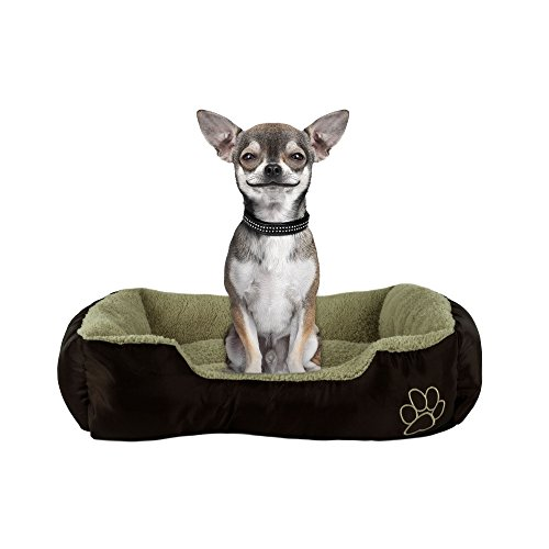 Small Dog or Cat Pet Bed Rectangle Plush Cuddler, 22″ x 18″ x 6″, Brown and Taupe For Sale