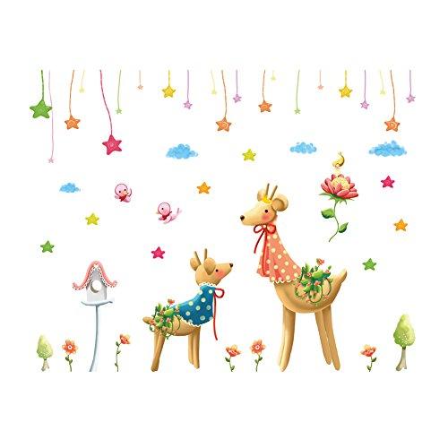Winhappyhome Sika Deer Wall Art Stickers for Bedroom - Deer Aging Chart