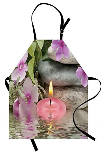 Lunarable Spa Apron, Heaven on the Earth Peaceful Theme Violets Candle on a Water and Stones, Unisex Kitchen Bib Apron with Adjustable Neck for Cooking Baking Gardening, Purple Grey and Green by Lunarable (Image #3)