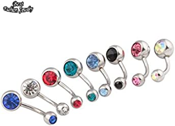 Bosun(TM) Popular Surgical Steel Synthetic Crystal Rhinestone Female Fashion Belly Button Bar Ring
