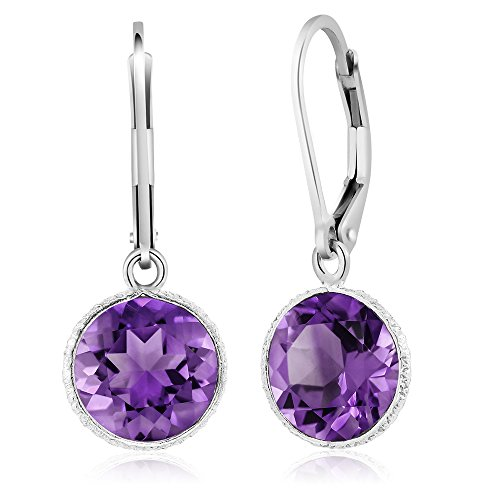 Leverback Purple Earrings (8.00 Ct Beautiful 925 Sterling Silver Purple Amethyst Leverback Dangle Earrings)