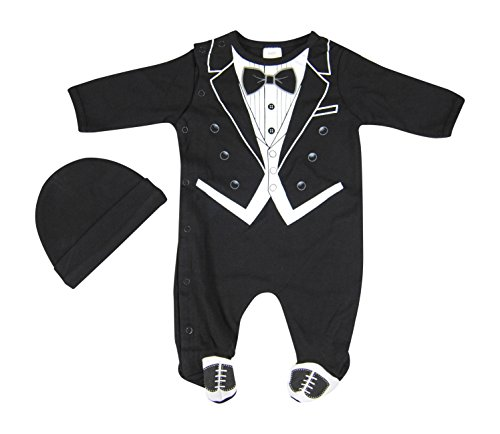 Hope Balloon Baby Boy's 2 Piece Tuxedo Sleeper With Matching Hat 0-3 Months Black]()