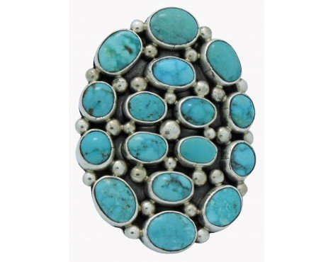 Verdy Jake, Cluster Ring, Morenci Turquoise, Sterling Silver, Navajo (Navajo Silver Turquoise Cluster)
