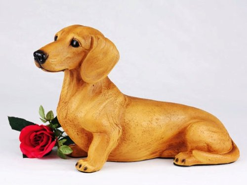 Dachshund Shorthair Red Cremation Pet Urn for secure installation of your beloved pet's ashes indoors or outdoors