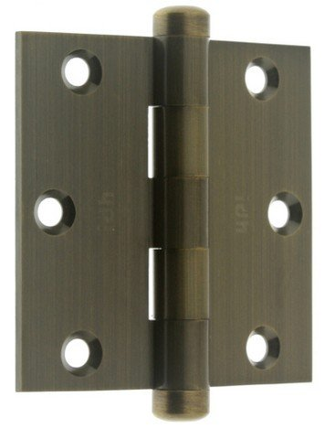 idh by St. Simons 83030-005 Professional Grade Quality Genuine Solid Brass 3 inch x 3 inch Full Mortise Door Hinges (Pair), Antique Brass - Solid Brass 1.5' Knob