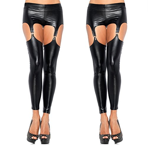 Igeon Women's Leather Wet Look Strappy Crotchless Pants Garter Belt Leggings