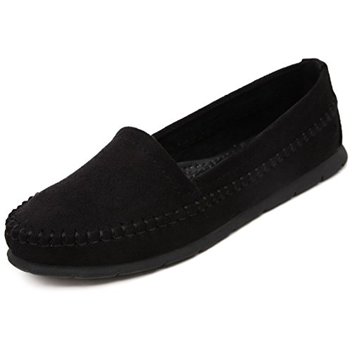 Closed WeenFashion Shoes Black On ImitatedSuede with Flats Decoration Womens Round Pull Toe wqUrAqIH