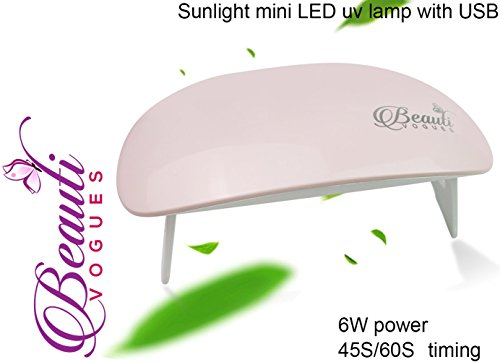 mini 6W LED UV Nail Dryer Curing Lamp Light Portable for Gel Based Polishes Manicure/Pedicure 2 Timing Setting 45s/60s (Pink)