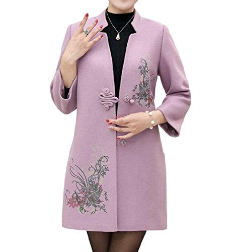 SportsX Women Folk Style Printing Midi Length Buckle Wrap Plus Size Peacoat Pink L