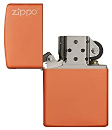 Zippo  Orange Matte Logo Pocket Lighter