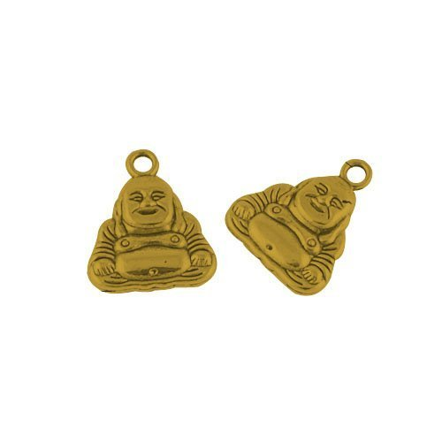 Paquet 10 x Or Antique Tibétain 20mm Breloques Pendentif (Bouddha) - (ZX07985) - Charming Beads